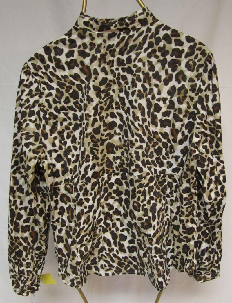 Blouse Shirt Jones New York Sport Brown Beige Leopard Print XL X Large NEW 64