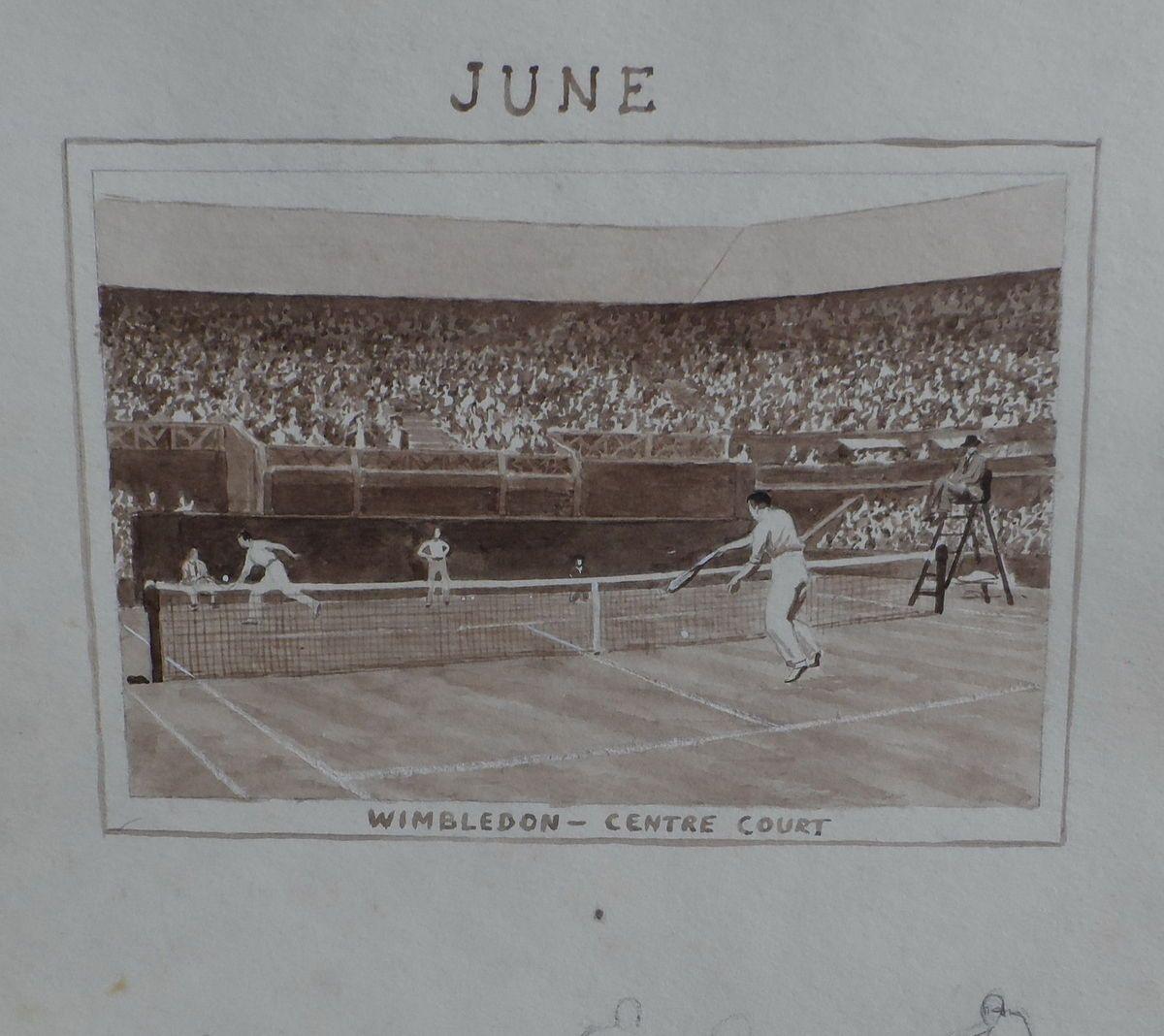 Calendar Artwork June Wimbledon centre court Sidney Robertson Rodger