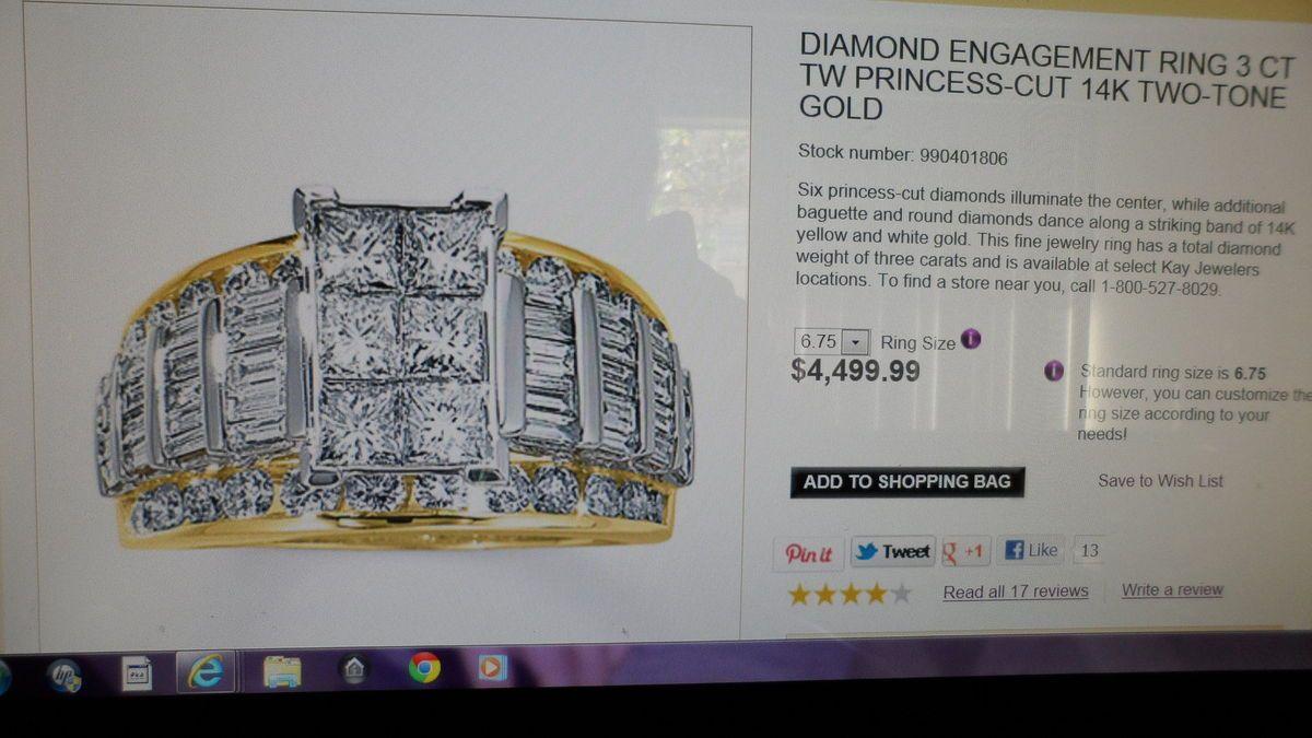 Kay Jewelers 14k Yellow Gold Diamond Ring 3 Carat