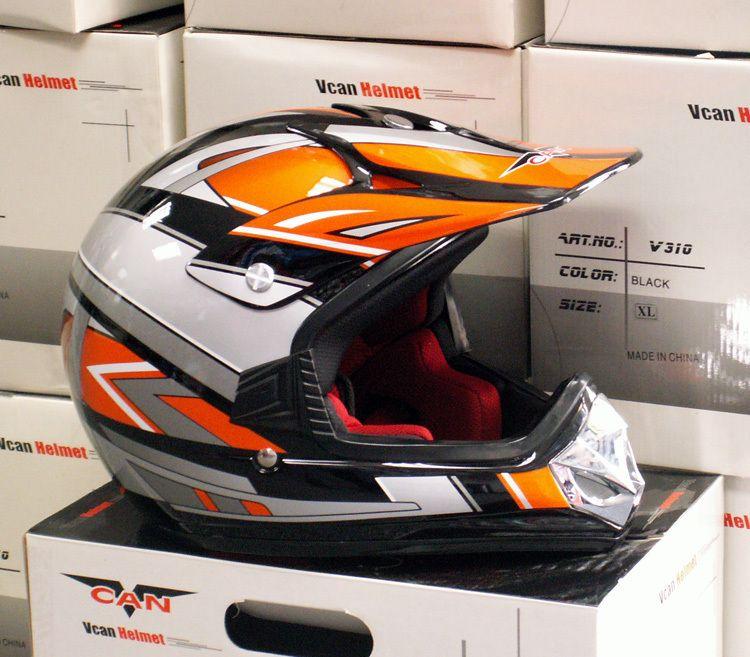 Kids Dirt Bike Helmet Youth XL Orange Black Vcan V310 Motox MX BMX Off