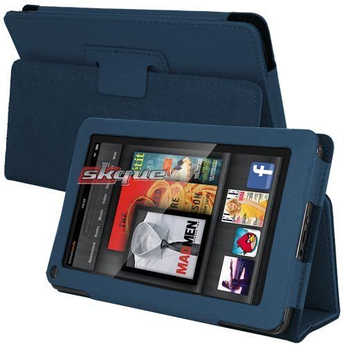 Folio Leather Carrying Case Cover Pouch with Stand For Kindle Fire