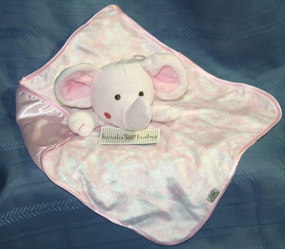 Koala Baby Girls Elephant Pink Satin Plush Security Blanket Toy New