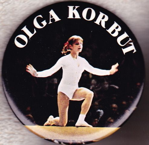 Olga Korbut 1970's Button Pin Gymnastics Olympic Gold Medalist