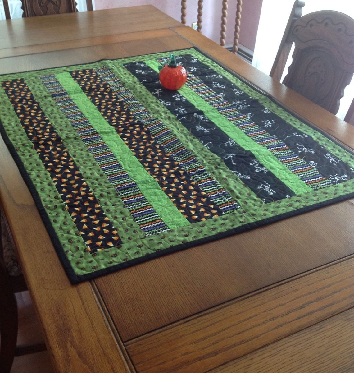 Halloween Candy Corn Skeleton Quilted Table Runner