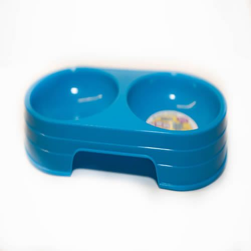 New Pet Dog Cat Plastic Double Dish Water Food Bowl Feeder Blue 4 5 w