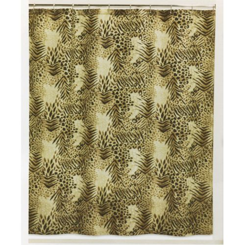 Leopard Print Fabric Shower Curtain Black Brown Tan Leopard Print New