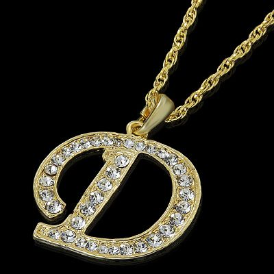 Letter D Gold Plated Clear Crystal Pendant Charm Necklace Chain