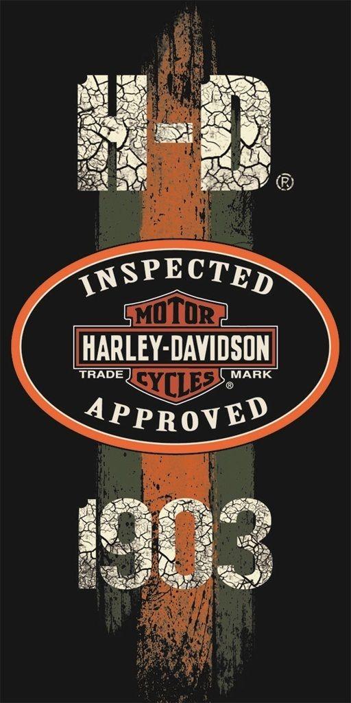 Harley Davidson Towel Beach Bath Motorcycle Biker Inspected Approved