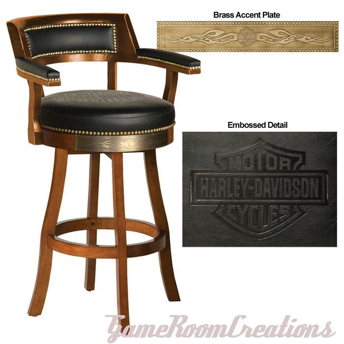 HARLEY DAVIDSON Bar & Shield Flames Heritage Brown Backrest Bar Stool