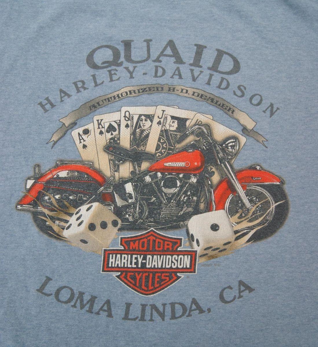 Cycles Harley Davidson T Shirt Quaid Loma Linda Cal Size 2XL