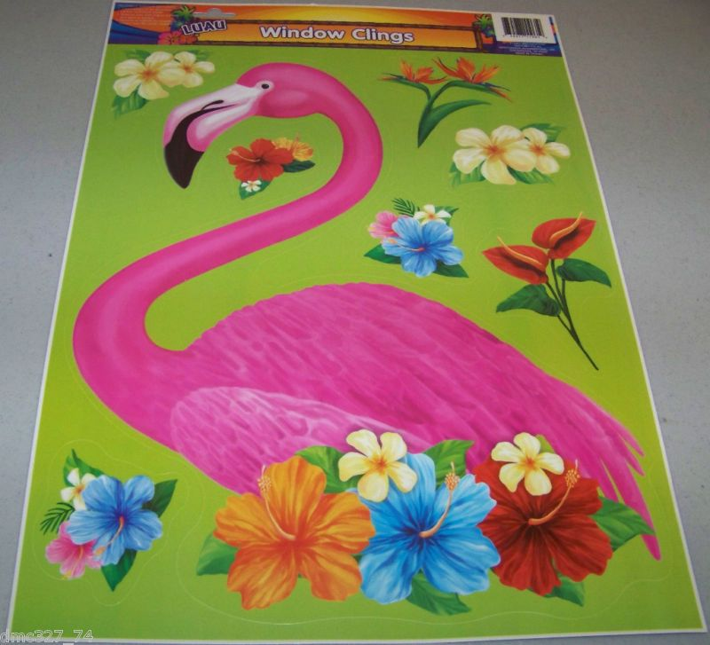 Luau Tiki Party Flamingo Flowers Window Clings Cling