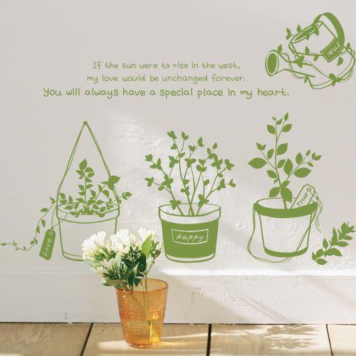 Sweet Garden Flower Pots Love Quotes Wall Sticker Removable Vinyl