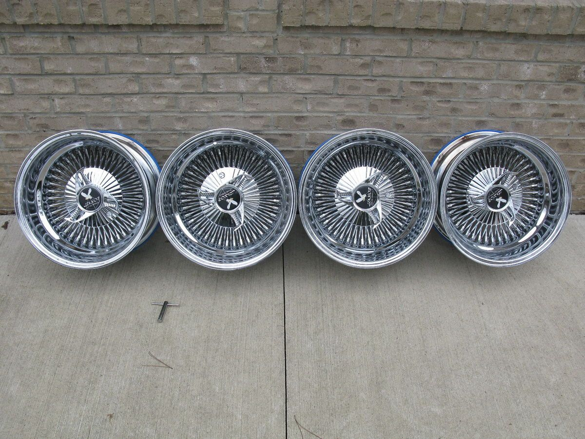 Luxor 80 Spoke Chrome Wire Wheels, 15x8, 4 Lug, 4x100, 4x108, 4x114.3