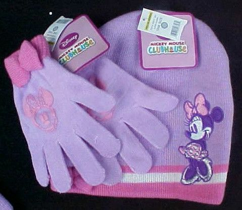 NWT Disney Mickey Mouse Clubhouse Minnie Cold Weather Set Hat & Gloves