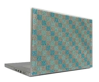 Aqua & Silver Checkers 17 Crystal Rhinestone Bling Laptop Cover Skin