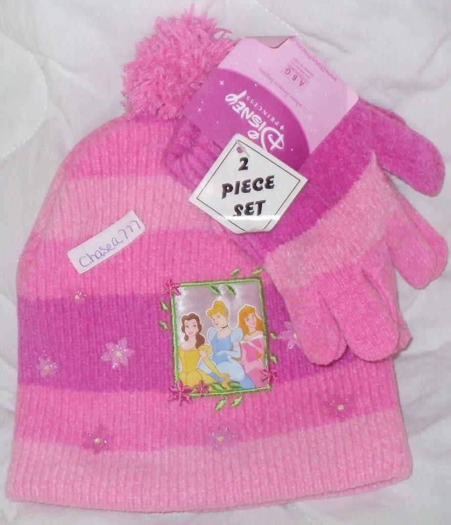 NWT Girls Disney Princess Cinderella Belle Sleeping Beauty Hat Gloves