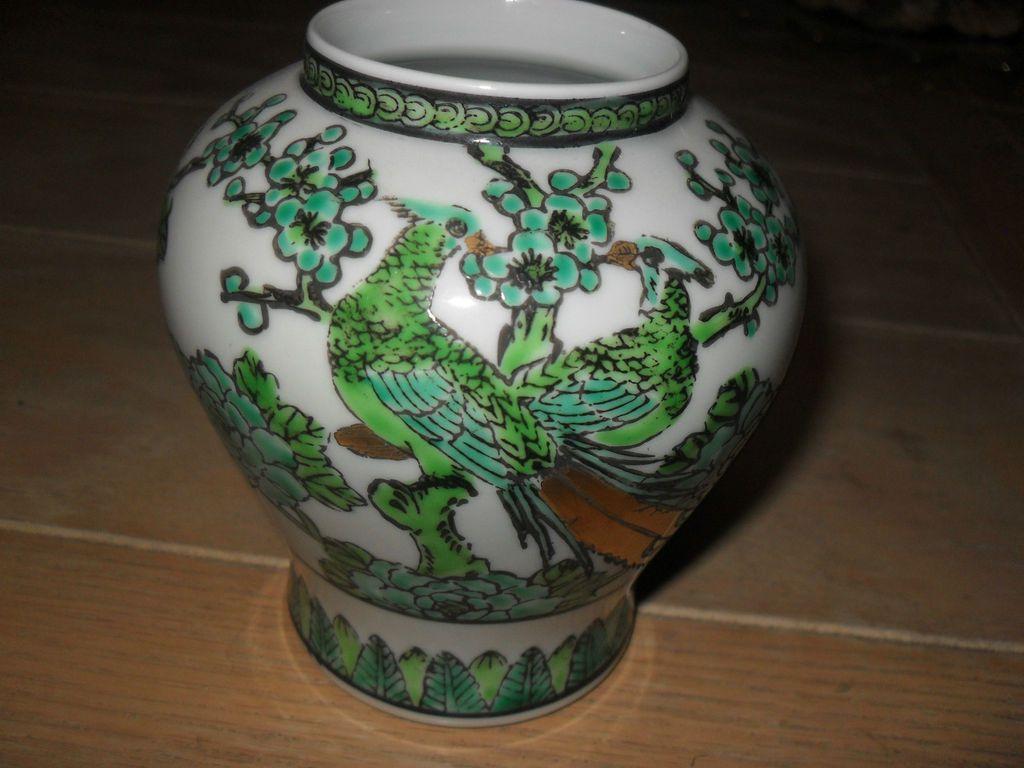 Handpainted Gold Imari Japanese Peacock Vase