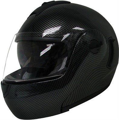FULL FACE MOTORCYCLE HELMET CARBON FIBER DUAL SHIELD SUN VISOR~M