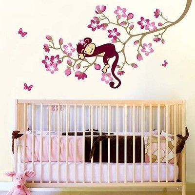 Newly listed Monkey Pink Flower Blossom Tree Reusable Wall stickers