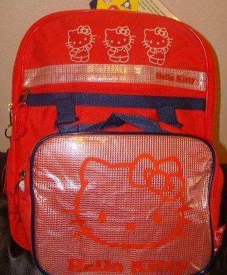 NEW SANRIO HELLO KITTY SCHOOL BACKPACK AND LUNCHBOX & COIN BAG