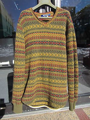COMME DES GARCONS HOMME 100% Wool Fair Isle SWEATER size large JUNYA