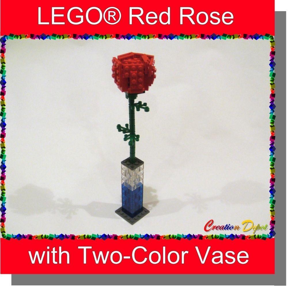 LEGO® Rose Flower Sculpture with Vase Valentine Day Love Anniversary