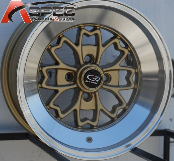 15X8 ROTA ALEICA 4X100 +10 ROYAL GOLD WHEEL FITS CIVIC MR2 SAKURA