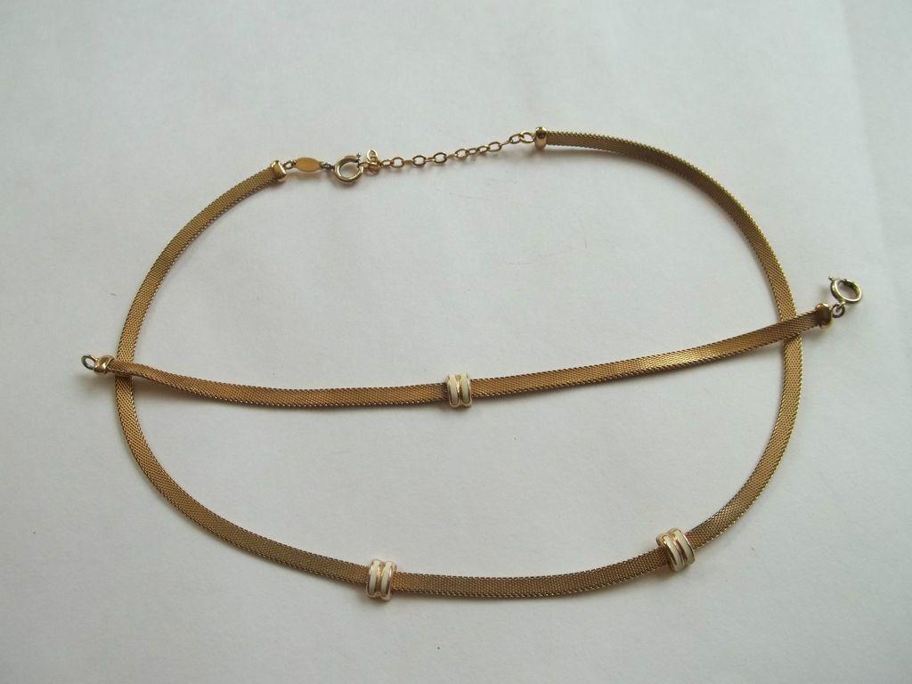 GROSSE GERMANY signed necklace+bracelet set,gold tone,enamel,16long,
