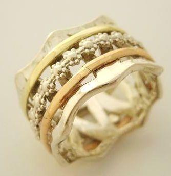 Silver Gold Wide Art Wedding Ring Spinner Bands Flower