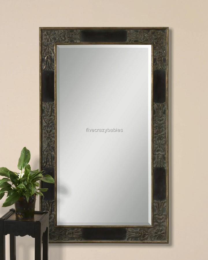 Oversize 79 DARK MAHOGANY Wood Full Length Dressing Wall Mirror