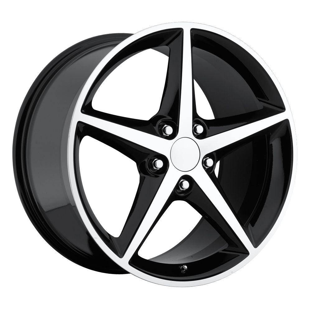 2011 2012 Corvette C6 Black Machine Face Wheels Rims
