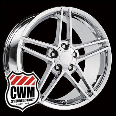 18x9.5 Corvette C6 Z06 Style Chrome Wheels Rims fit Chevy Camaro 1993