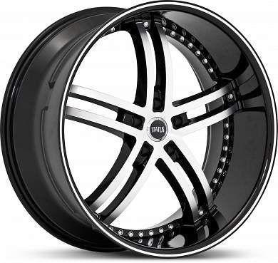20 x8 5 Status Knight 5 S816 Black Machined Wheels Rims