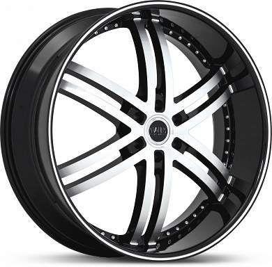 26 x10 Status Knight 6 S817 Black Machined Wheels Rims