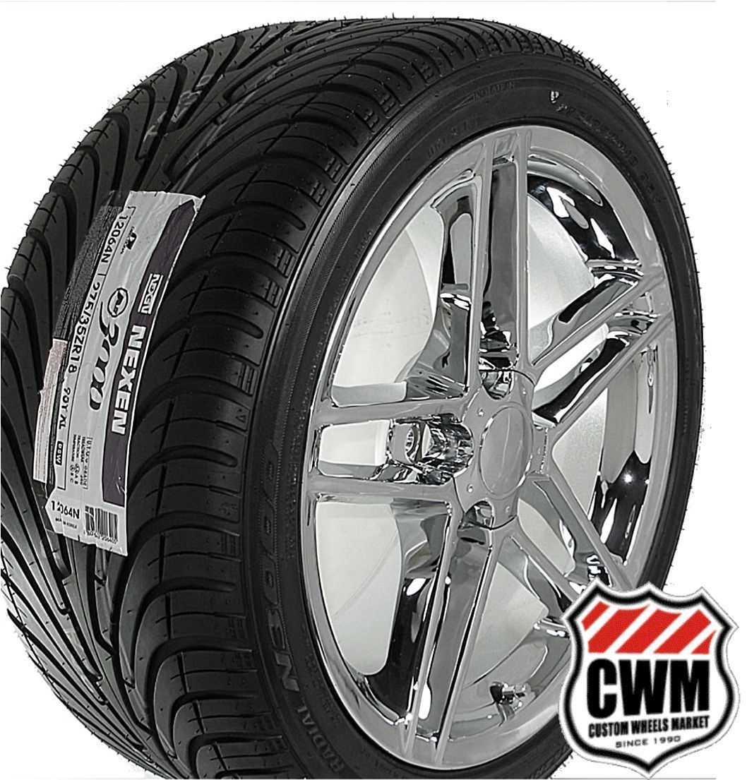 18x9 5 Corvette C6 Z06 Chrome Wheels Rims Tires Direct Fit for Camaro