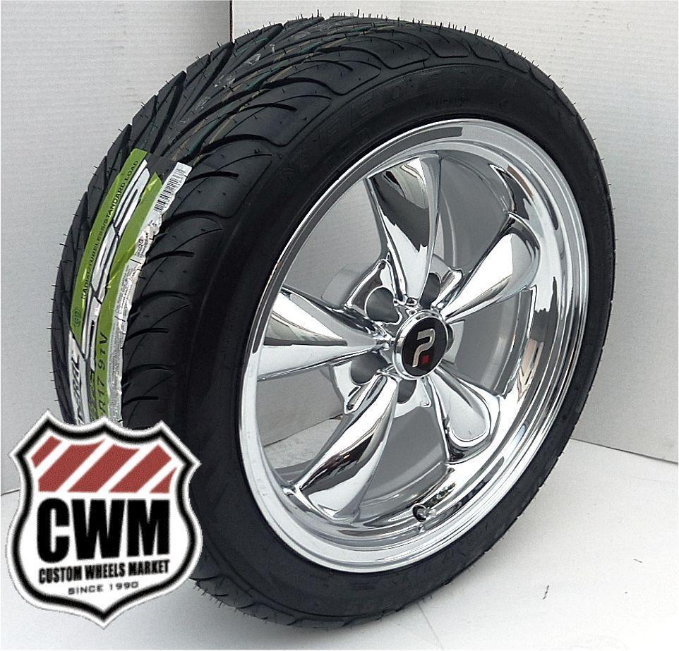 Bullitt Style Chrome Wheels Rims Federal Tires for Ford Mustang 67 73