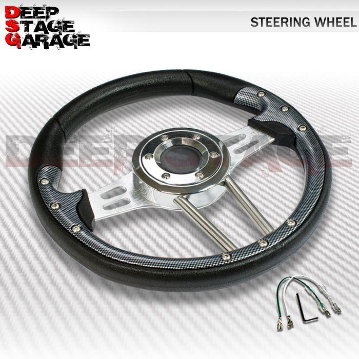 Universal 6 Bolt Aluminum Frame 330mm Racing Steering Wheel Black