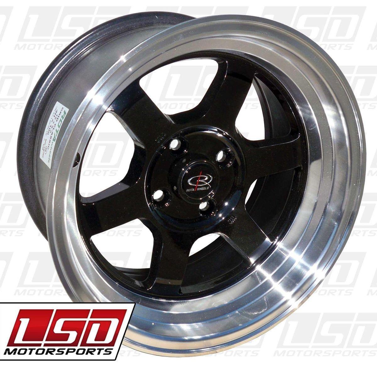 15 Rota Grid V Black Rims Wheels 15x8 0 4x114 3 AE86 Corolla 240sx s13