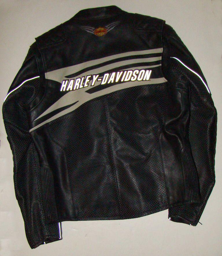 Harley Davidson Mens Black Leather Riding Jacket Gift Ready NIB